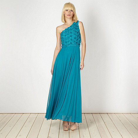 Diamond by Julien Macdonald - Designer turquoise petal one shoulder maxi dress