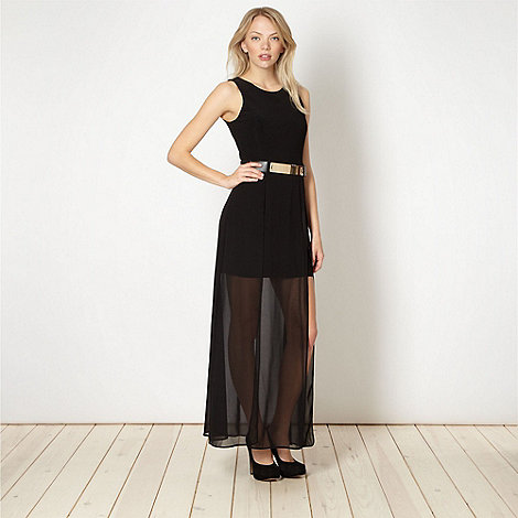 Diamond by Julien Macdonald - Designer black belted split maxi dress