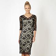 Designer black lace evening dress