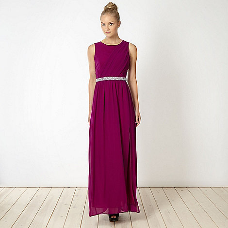 Diamond by Julien Macdonald - Designer magenta embellished maxi dress