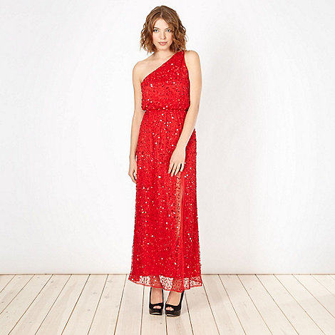 Diamond by Julien Macdonald - Designer red sequin one shoulder maxi dress