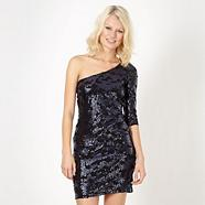 Designer navy blue one shoulder sequin dress