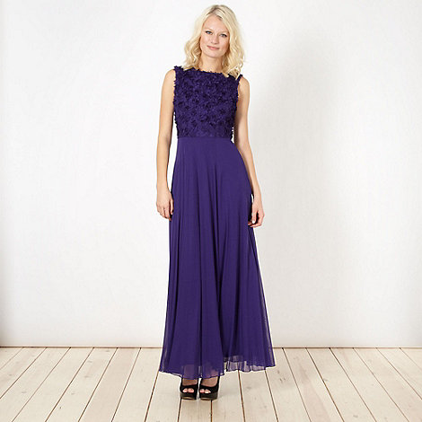 Diamond by Julien Macdonald - Designer purple petal trim maxi dress