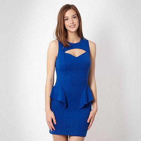 Diamond by Julien Macdonald - Designer bright blue cut out peplum cocktail dress