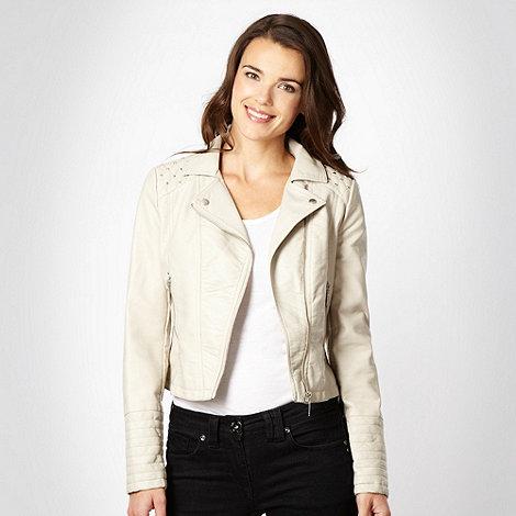 Diamond by Julien Macdonald - Natural faux leather studded trim biker jacket