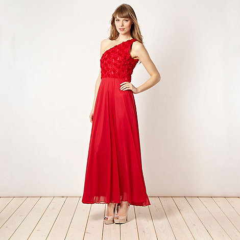 Diamond by Julien Macdonald - Designer red petal applique one shoulder dress