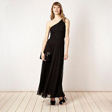 Diamond by Julien Macdonald - Designer black petal applique one shoulder dress