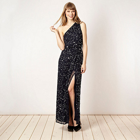 Diamond by Julien Macdonald - Designer navy embellished one shoulder maxi dress