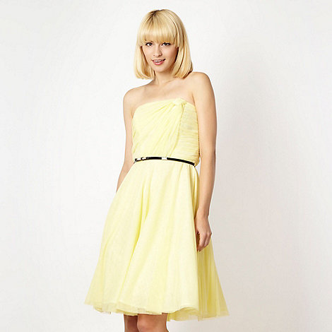Diamond by Julien Macdonald - Designer yellow strapless mesh prom dress