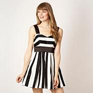 Designer striped flared skirt prom dress