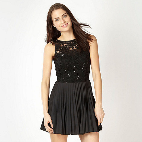 Diamond by Julien Macdonald - Designer black pleated lace prom dress