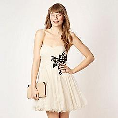 Diamond by Julien Macdonald - Designer beige embroidered prom dress