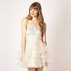 Diamond by Julien Macdonald - Designer cream ruffled embellished prom dress