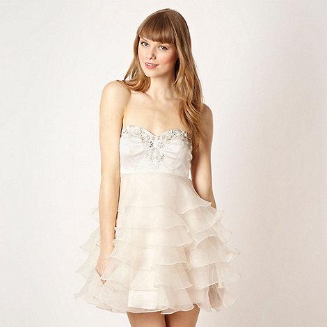 Diamond by Julien Macdonald - Designer cream ruffled embellished prom dress