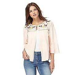 Nine by Savannah Miller - Light pink embroidered jacket