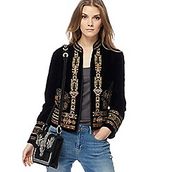 Nine by Savannah Miller - Black velvet embroidered jacket