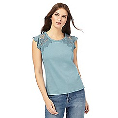 Nine by Savannah Miller - Light turquoise lace detail top