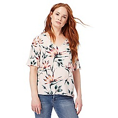 Nine by Savannah Miller - Pink floral print self-tie top