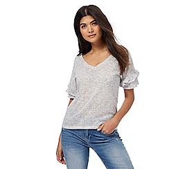 Nine by Savannah Miller - Grey ruffle sleeves jersey top
