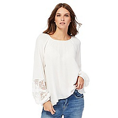 Nine by Savannah Miller - Ivory textured lace bell sleeves top