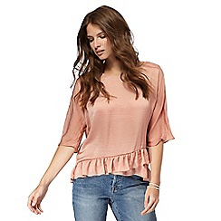 Nine by Savannah Miller - Pink ruffle hem top