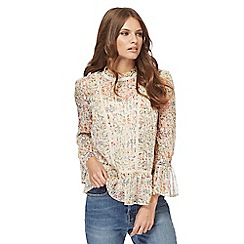 Nine by Savannah Miller - Multi-coloured floral flute sleeves blouse