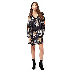 Nine by Savannah Miller - Navy floral print V-neck mini dress