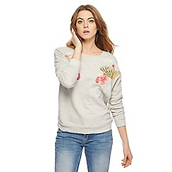 Nine by Savannah Miller - Light grey embroidered sweater
