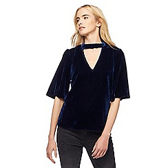 Nine by Savannah Miller - Blue velvet choker top