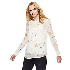 Nine by Savannah Miller - Ivory star embroidered top