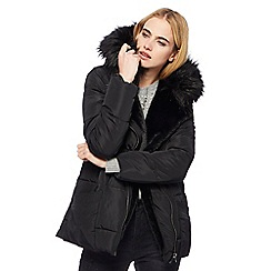 Nine by Savannah Miller - Black faux fur trim padded jacket