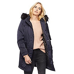 Nine by Savannah Miller - Navy faux fur trim posh parka
