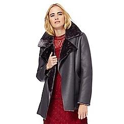 Nine by Savannah Miller - Grey faux fur collar aviator coat