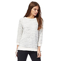 Nine by Savannah Miller - Grey space dye side tie sweater