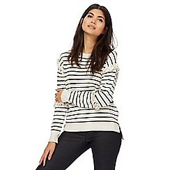 Nine by Savannah Miller - Cream striped ruffle sleeve jumper