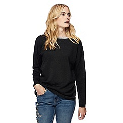 Nine by Savannah Miller - Black sheer yoke crew neck jumper