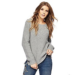 Nine by Savannah Miller - Grey pearl embellished knitted jumper