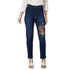 Nine by Savannah Miller - Blue floral embroidered high waisted straight leg jeans