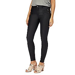 Nine by Savannah Miller - Black mid rise skinny coated jeans