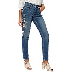 Nine by Savannah Miller - Blue embroidered slim fit jeans