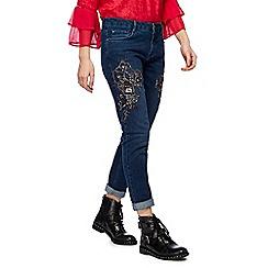 Nine by Savannah Miller - Dark blue bead embellished slim fit jeans