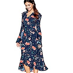Nine by Savannah Miller - Navy floral print long sleeves midi dress
