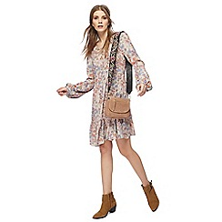Nine by Savannah Miller - Multi-coloured floral print long sleeve knee length dress
