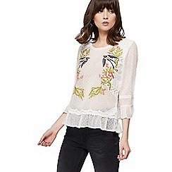 Nine by Savannah Miller - Ivory swallow embroidered textured top