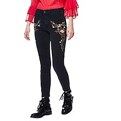 Nine by Savannah Miller - Black floral embroidered skinny fit jeans