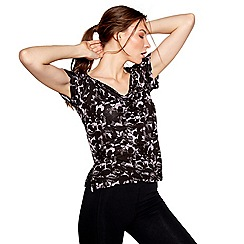 Nine by Savannah Miller - Black floral cowl back t-shirt