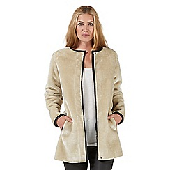 Nine by Savannah Miller - Cream faux fur collarless coat