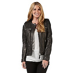Nine by Savannah Miller - Black collarless leather jacket