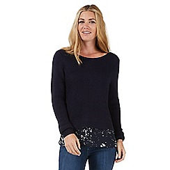 Nine by Savannah Miller - Navy blue jumper with blouse detailing