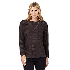 Nine by Savannah Miller - Navy blue and bronze textured knit jumper